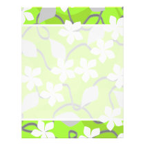 Green and White Flowers. Floral Pattern. Flyer