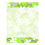 Green and White Flowers. Floral Pattern. Flyers