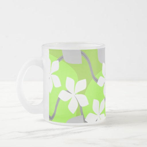 Green and White Flowers. Floral Pattern. 10 Oz Frosted Glass Coffee Mug
