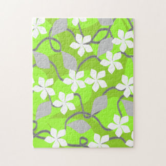 Green and White Flowers Floral Pattern Puzzle