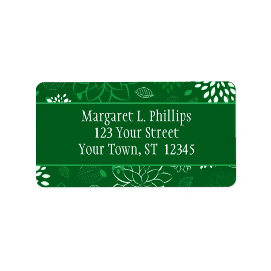 Green and White Flowers Label