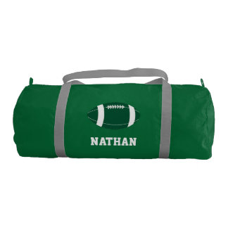 Green and White Football Personalized Duffle Bag
