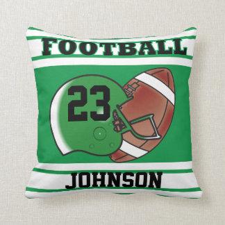 Green and White Football Throw Pillow