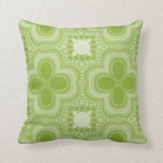Green and White Four Petal Flower Abstract Pillow