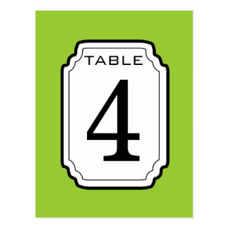 Green and White Frame Table Number 4 V04 Postcards