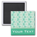 Green and White Geometric Pattern Refrigerator Magnet