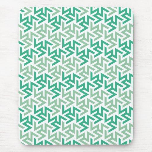 Green and White Geometric Pattern Mousepad