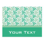 Green and White Geometric Pattern Post Cards