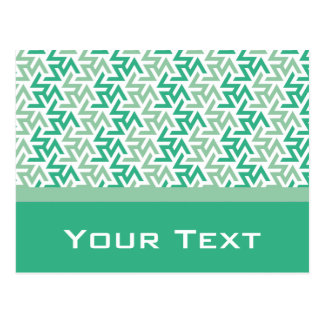 Green and White Geometric Pattern Postcard