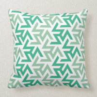 Green and White Geometric Pattern Throw Pillow