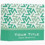 Green and White Geometric Pattern Vinyl Binders