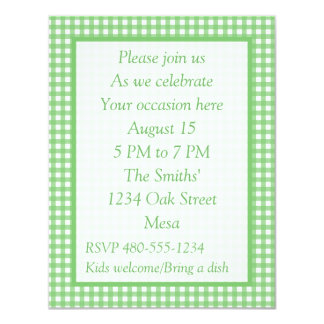 """Green and White Gingham - All Purpose Party Invite 4.25"""" X 5.5"""" Invitation Card"""