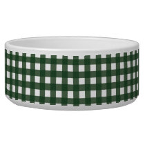 Green and White Gingham Bowl