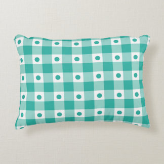 Green And White Gingham Check Dots Pattern Accent Pillow