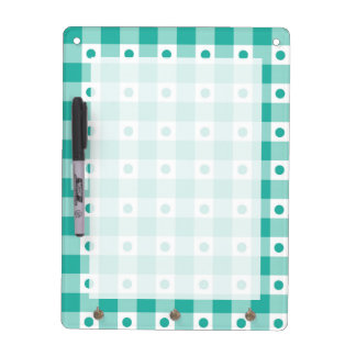 Green And White Gingham Check Dots Pattern Dry Erase Board