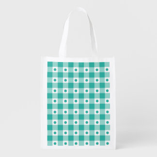 Green And White Gingham Check Dots Pattern Grocery Bags