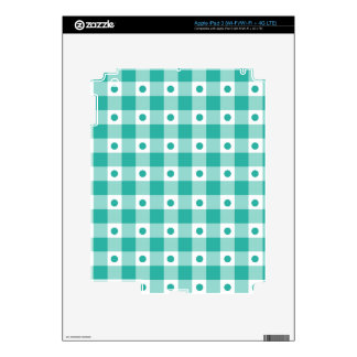 Green And White Gingham Check Dots Pattern iPad 3 Decals