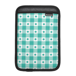 Green And White Gingham Check Dots Pattern iPad Mini Sleeve