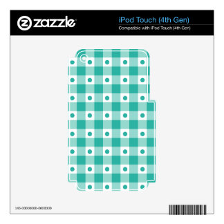 Green And White Gingham Check Dots Pattern iPod Touch 4G Decals
