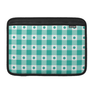 Green And White Gingham Check Dots Pattern MacBook Air Sleeve