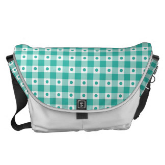 Green And White Gingham Check Dots Pattern Messenger Bag