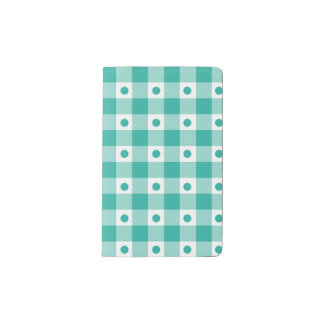 Green And White Gingham Check Dots Pattern Pocket Moleskine Notebook