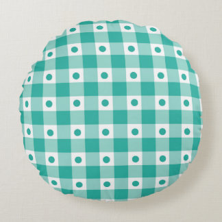 Green And White Gingham Check Dots Pattern Round Pillow