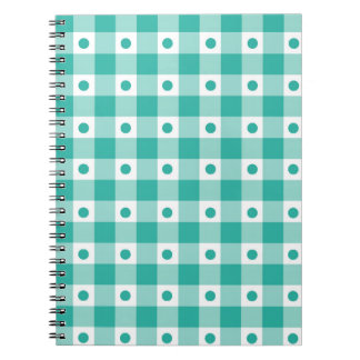 Green And White Gingham Check Dots Pattern Spiral Notebook