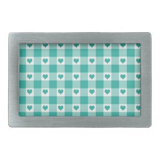 Green And White Gingham Check Hearts Pattern Belt Buckle