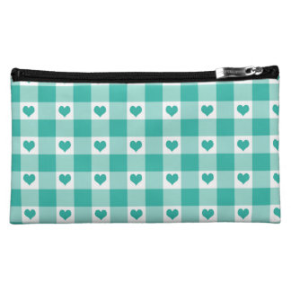 Green And White Gingham Check Hearts Pattern Cosmetic Bag