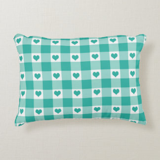 Green And White Gingham Check Hearts Pattern Decorative Pillow