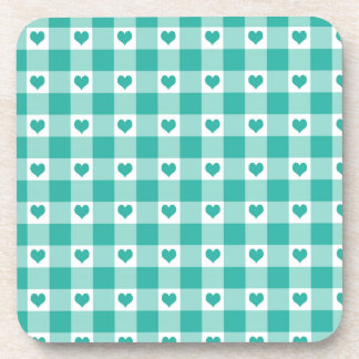 Green And White Gingham Check Hearts Pattern Drink Coaster