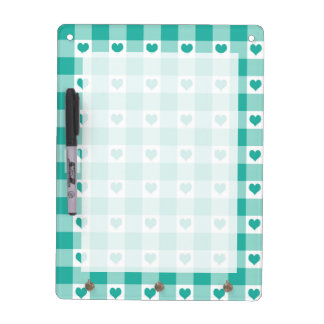 Green And White Gingham Check Hearts Pattern Dry Erase Board