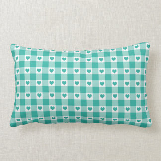 Green And White Gingham Check Hearts Pattern Lumbar Pillow