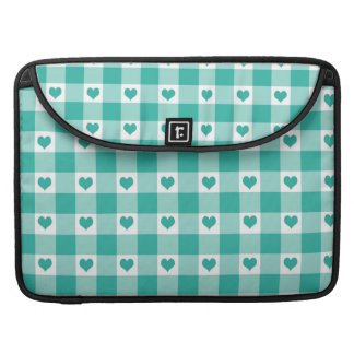 Green And White Gingham Check Hearts Pattern MacBook Pro Sleeve