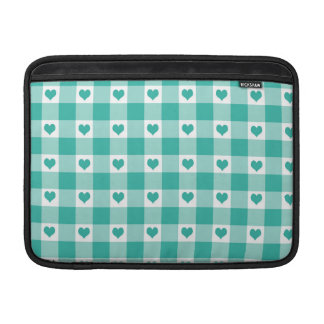Green And White Gingham Check Hearts Pattern MacBook Sleeve