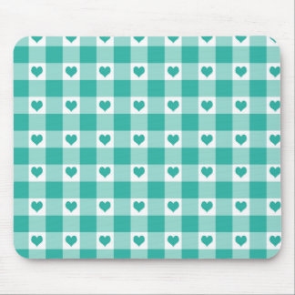 Green And White Gingham Check Hearts Pattern Mouse Pad