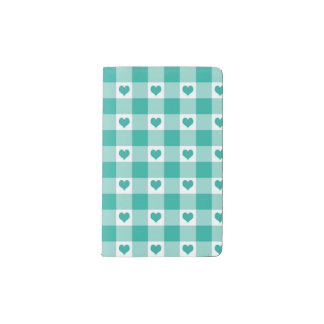 Green And White Gingham Check Hearts Pattern Pocket Moleskine Notebook