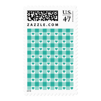 Green And White Gingham Check Hearts Pattern Postage