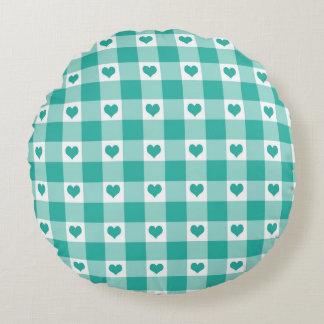 Green And White Gingham Check Hearts Pattern Round Pillow