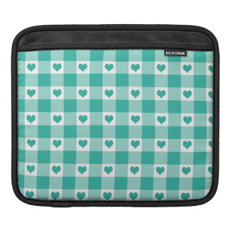 Green And White Gingham Check Hearts Pattern Sleeve For iPads