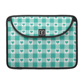 Green And White Gingham Check Hearts Pattern Sleeve For MacBook Pro