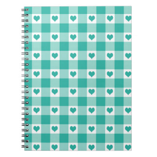 Green And White Gingham Check Hearts Pattern Spiral Notebook