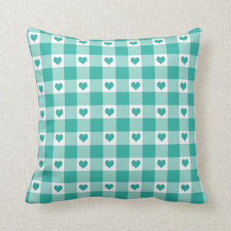 Green And White Gingham Check Hearts Pattern Throw Pillow