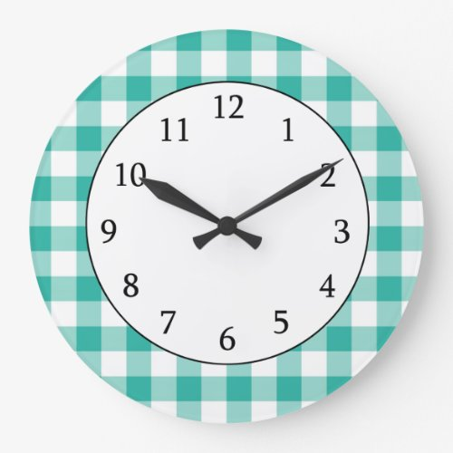 Green And White Gingham Check Pattern Clock