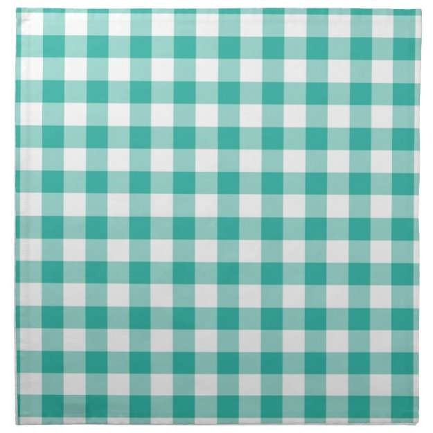 Green And White Gingham Check Pattern Cloth Napkin
