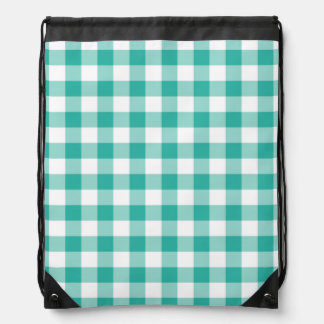 Green  And White Gingham Check Pattern Drawstring Backpack