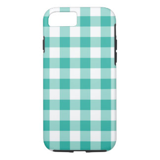 Green And White Gingham Check Pattern iPhone 7 Case