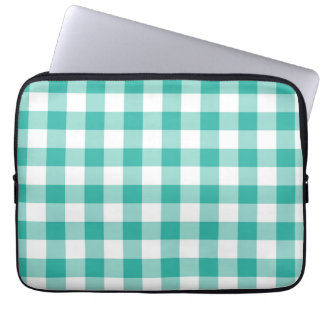 Green And White Gingham Check Pattern Laptop Sleeve