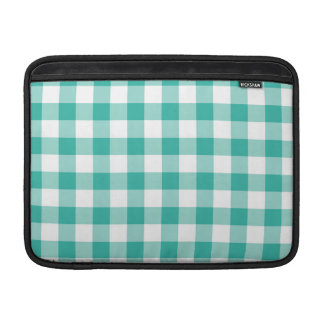 Green And White Gingham Check Pattern MacBook Air Sleeve